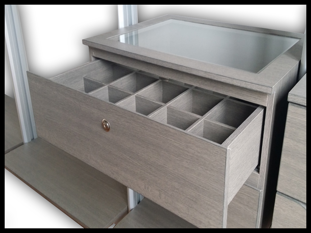 Drawer + Clear Glass Top + Organizer - B
