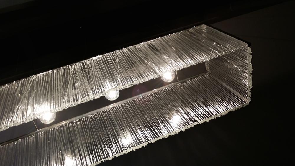 Big hanging glass lamp. Detail