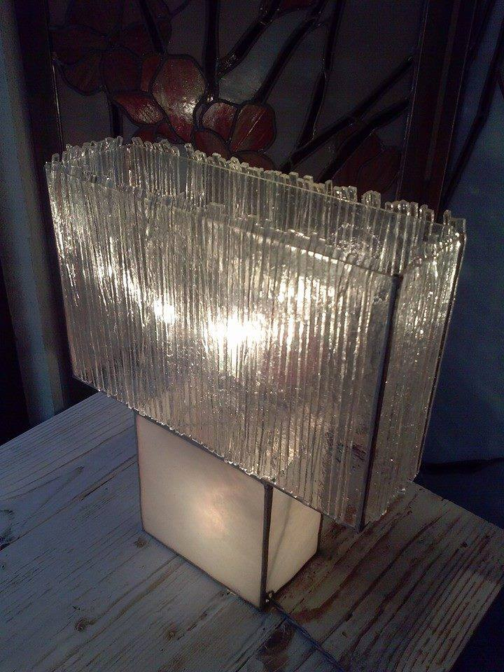 Matches table glass lamp.