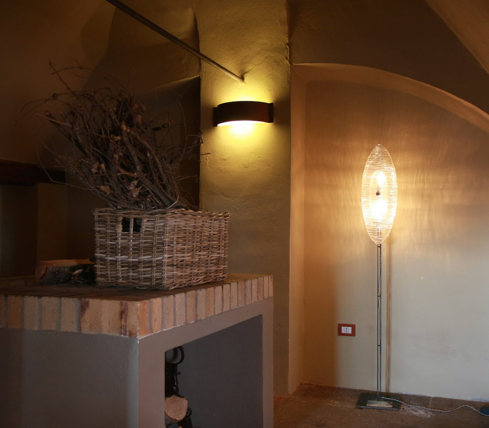 Art glass floor lamp. Interior.