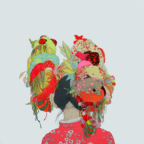 """I also wanted to add this visual into todays entry. This is an image I found by Illustrator and Chinese Contempory Artist Zhou Fan. I'm not exactly sure what this particular image is supposed to portray, but I love the whole aesthetic of it and I feel like its sort of telling a story. I love the colours, the integrated patterns and I think I was instinctively drawn to it because it reminded me of really over exaggerated Geisha Kanzashi hair pieces and ornaments and the way they are layered up and some sort of cascade down onto the neck and shoulders.  Artist Statement """" This series of my paintings is based on dreams that I had as a child of many many jellyfish floating in the sky, some of which fell to the ground and became mushrooms.These dreams had a strong impact on me, and I remember them vividly. Somehow I feel that it is easier to focus on dreams than reality"""""""