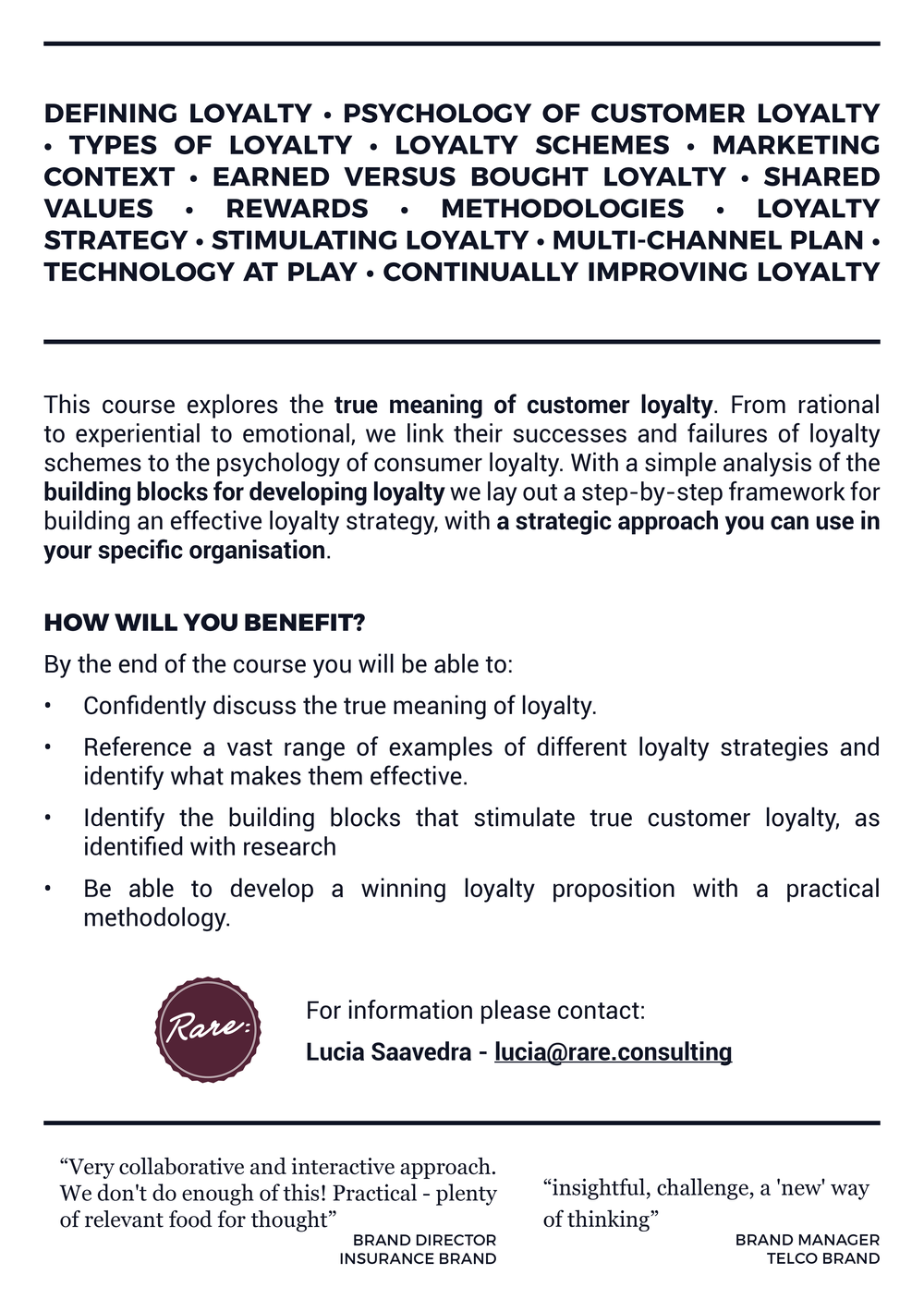 One day workshop on the value of Loyalty Schemes