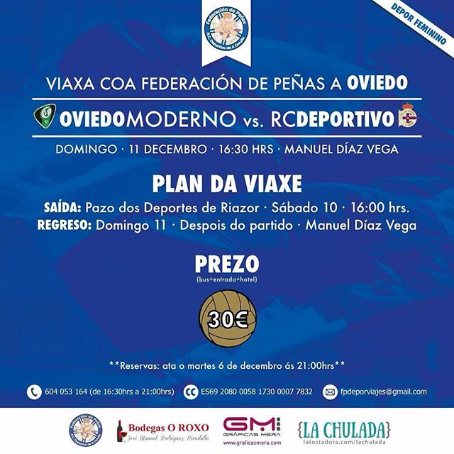 O domingo estaremos co Depor Feminino en Oviedo. Hoxe acaba o prazo de inscrición! #depor
