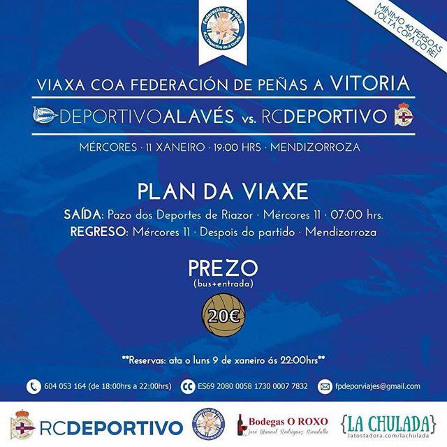 Animemos o #DÉPOR en Gasteiz para darlle #ANosaForza e intentar lograr o pase en Copa. SEMPRE CO DÉPOR!