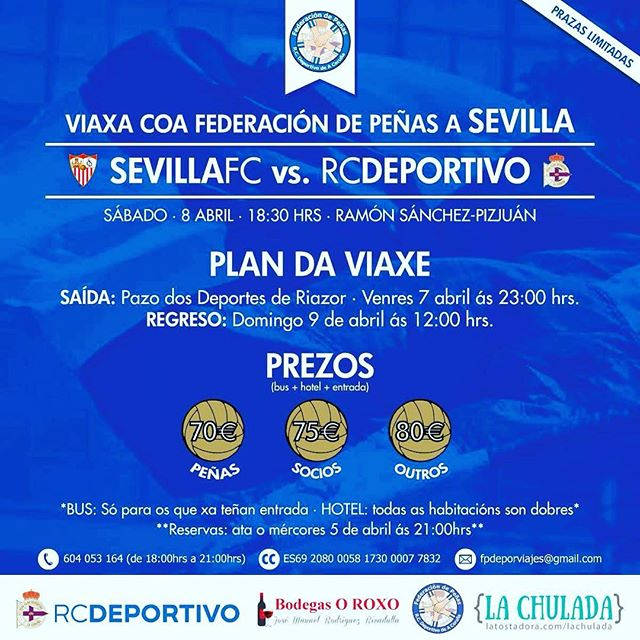 Apúntaste a #Sevilla? #SempreCoDepor