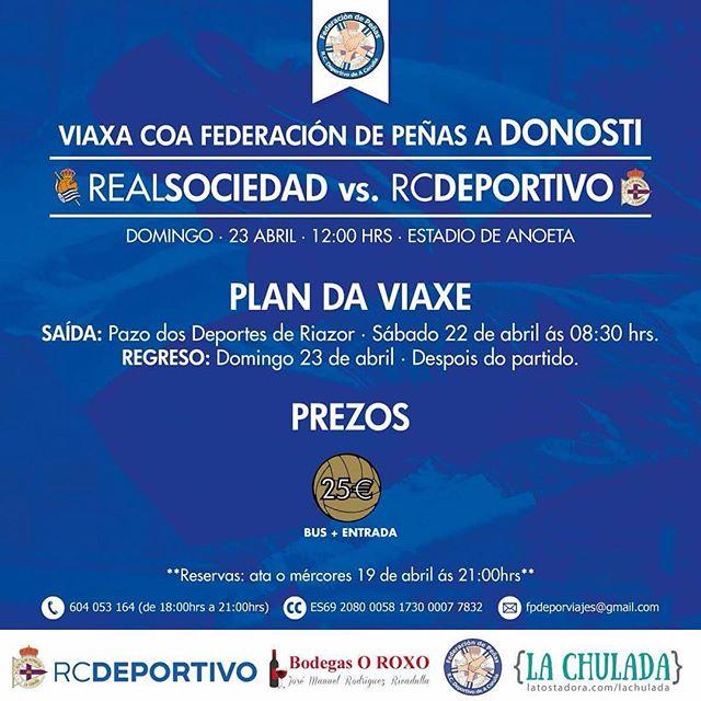 Debido a que el @rcdeportivo financia los autobuses para el viaje a Donosti el precio final es de 25€. Animemos al #DÉPOR!