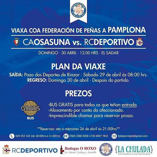 Bus gratuito a Pamplona #SempreCoDépor