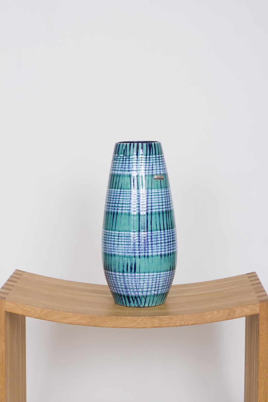Blue Checked West German Vase by Scheurich £75