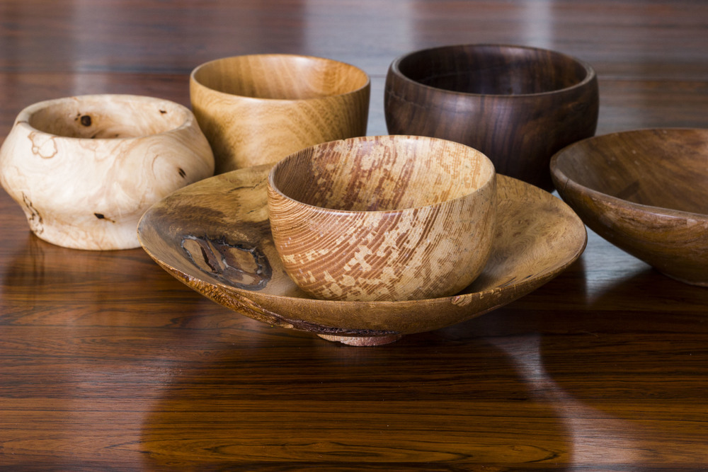 Selection of turned wooden bowls by John Alfredo Harris from £25