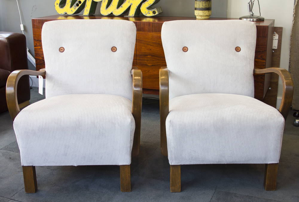 SOLD -  Pair of wooden armed chairs £775 pair   (sold)