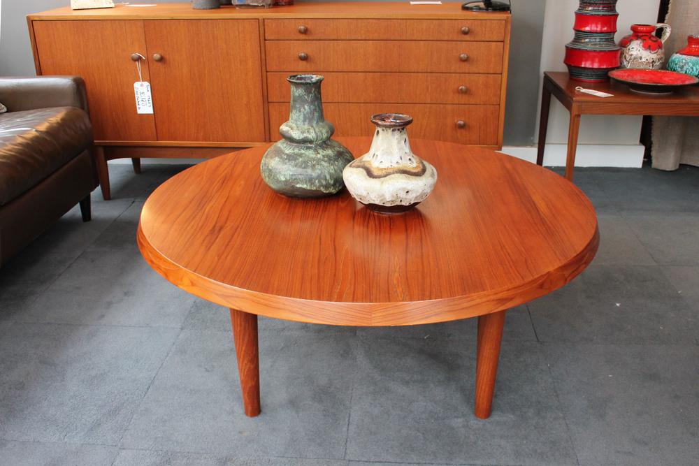 Round teak coffee table £275