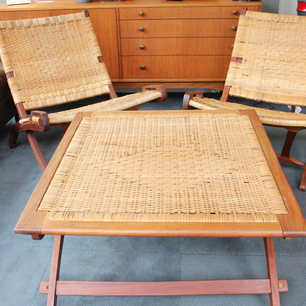 SOLD -  Pair of folding teak & wicker chairs with table £750
