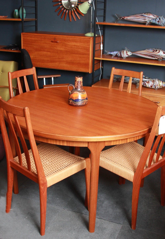 Teak extending table,McIntosh £150 plus 4 Danish teak charis £350