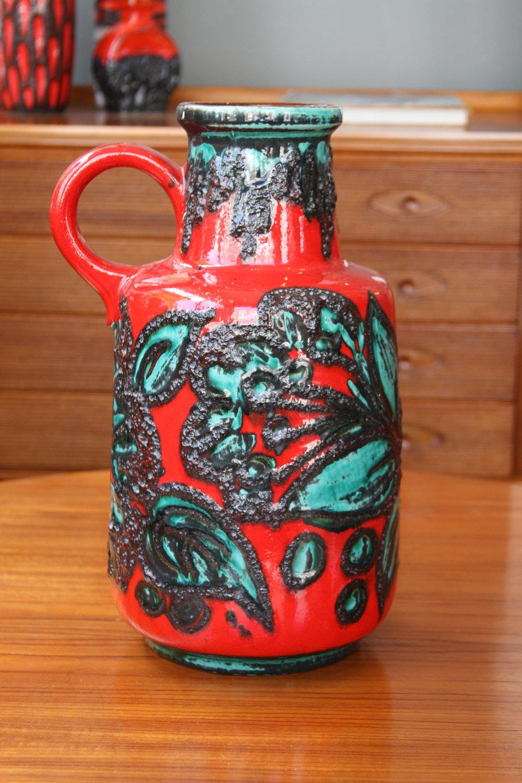 West German Lava Pot Red Flowers £150