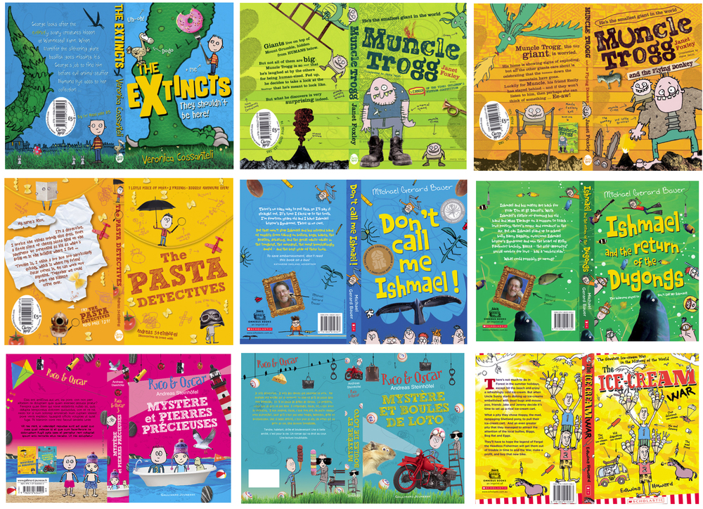 Book covers where I also was the illustrator – various publishers, including Scholastic Australia and Gallimard Jeunesse.