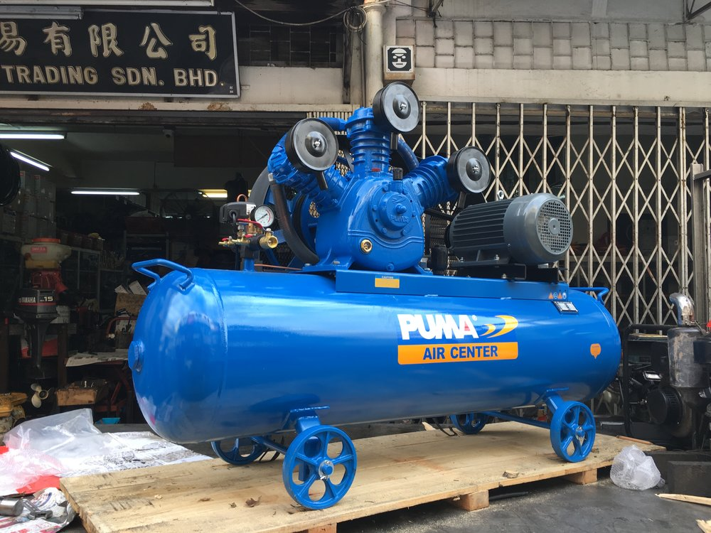A Puma PK100300 10HP Air Compressor, with a tank capacity of 304L and a Puma 3 phase motor.