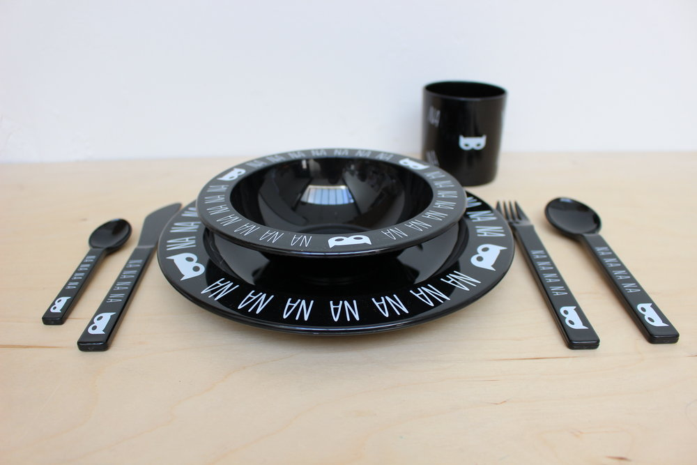 Complete Black Na Na Na Batman Tableware Set with Tumbler £26.00 from V and C Designs