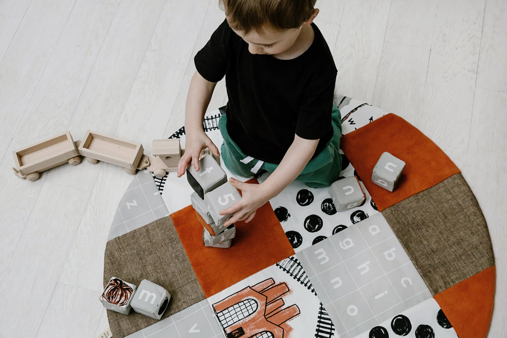Grey and Rust Play Mat