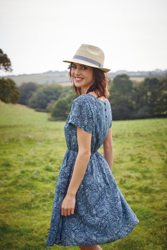 Cookworthy Dress  £59.95  55% Cotton, 45% viscose  Easy to wear fit and flare dress, in a floral print inspired by Cornwall. With a gently elasticated waist, full skirt, cap sleeves and two deep pockets. Simple and feminine and easily layered to last through the seasons.
