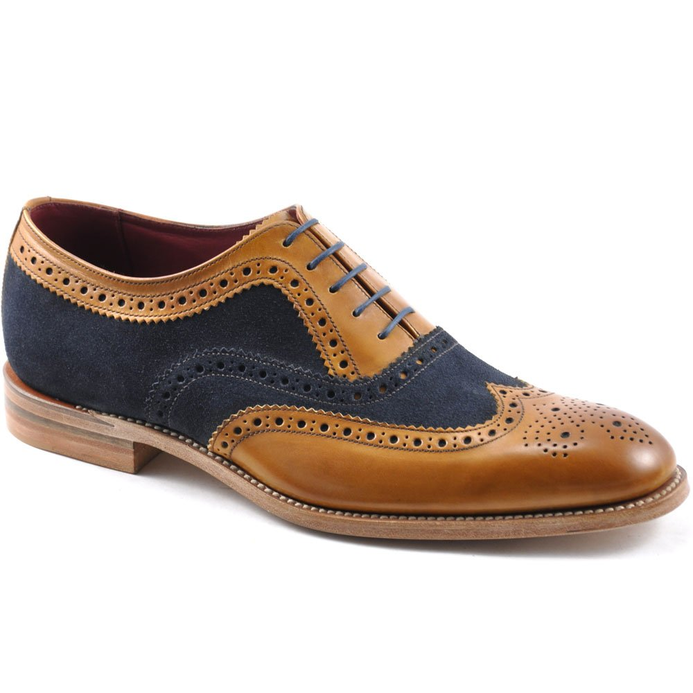 Loake Thompson  -   £160.00 Two-tone brogue shoe made from contrasting calf and suede leathers, featuring a Goodyear Welted sole, with a natural edge finish.  - Goodyear Welted Leather Soles - Fully Leather Lined - Leather Insoles - Last Claridge / F Fitting