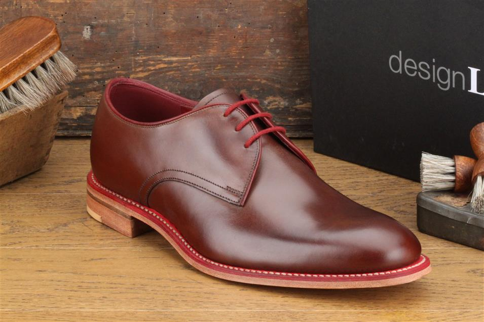 Loake Drake  -   £160.00 Plain tie derby shoe made using contrasting blue or red welts and laces, featuring a Goodyear Welted sole. Drake is made in India. - Goodyear Welted Leather Soles - Fully Leather Lined - Leather Insoles - Last Claridge / F Fitting