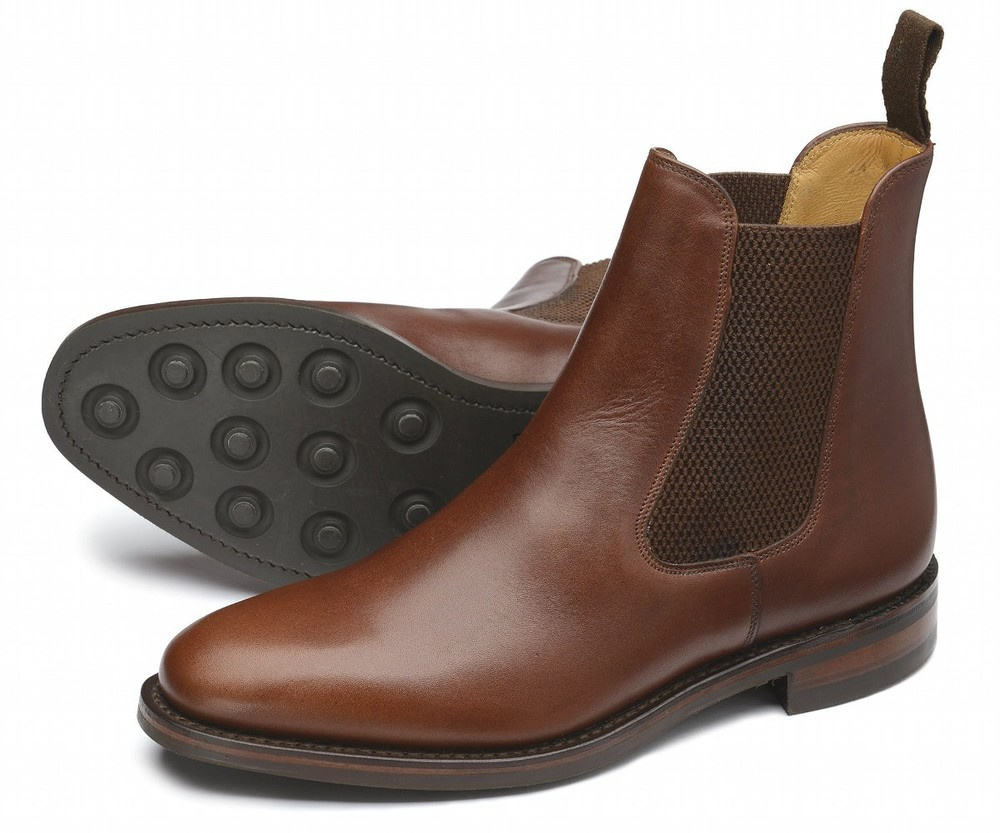 Blenheim  -       £165.00         Chelsea boot, made from brown waxy leather, featuring a Dainite studded rubber sole, made in England.         -  Goodyear Welted Rubber Soles    -  Leather Insoles    -  Fully Leather Lined    -  Last 010 / F Fitting