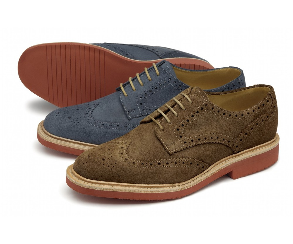 Logan-     £155.00         Suede derby brogue, featuring an EVA welted sole, made in England.         - Goodyear Welted EVA Soles    - Leather Insoles    - Fully Leather Lined    - Last 024 / F Fitting