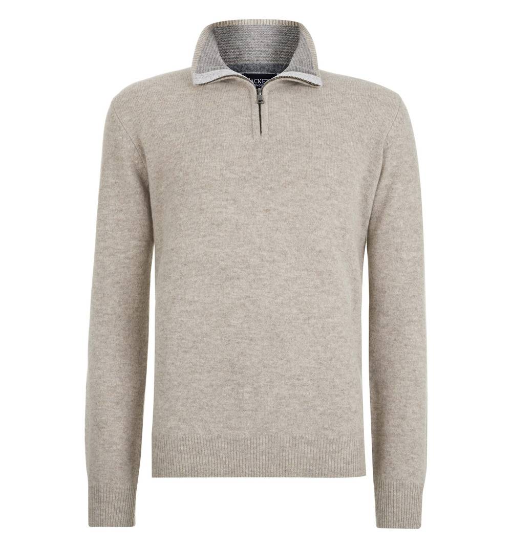 Hackett Lambswool half zip jumper with knitted elbow patches.   100% LAMBSWOOL ~ Essentials      £120