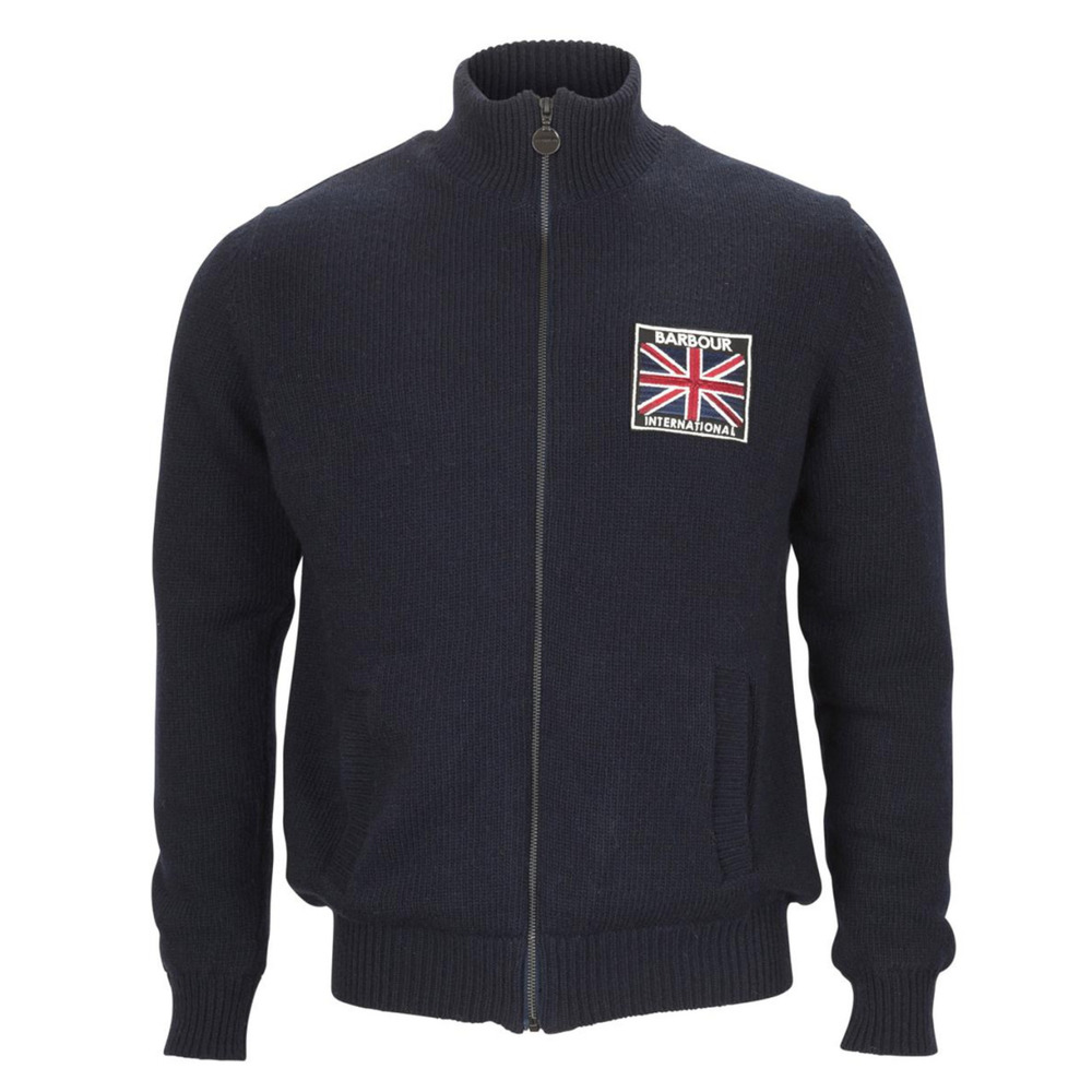 Barbour Union zip through knitted jumper with the union jack lining. Union Jack International badge on the chest and side slant front pockets.   Full Zip Jumper   Union Jack Badge   Front Pockets   Union Jack Lining   100% Lambswool    £129