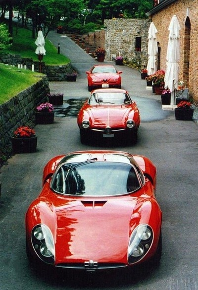 Do cars get more beautiful than this? 1995 Alfa Romeo GTV, 1963 Alfa Romeo Giulia 1600 Sprint Speciale, 1967 Alfa Romeo Tipo 33 Stradale