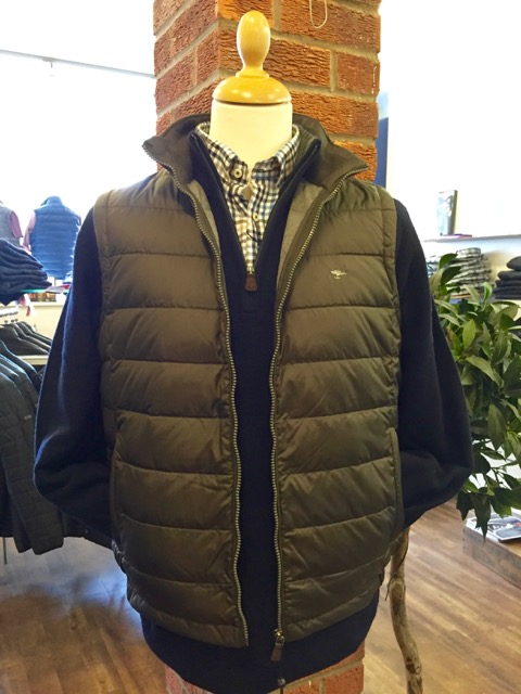 Half Zip Sweater, Classic Oxford Check Shirt and Lightweight Gilet.
