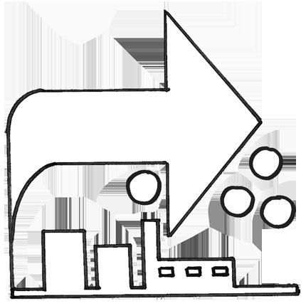 Erilaiset alihankintatyöt, esim. paikallisten teollisuusyritysten tarpeisiin: yksinkertaiset kokoonpano- ja osakokoonpanotyöt, tarroitus, paketointi, lajittelu, laaduntarkastus, laskenta ja pussitus. -