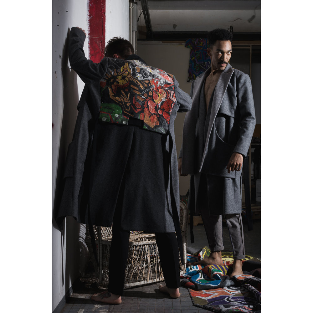 One of a kind hand painted coats by  C.Œ.D.E  Models : Amaury Agache, James Dean Fischer MUAH :  Clementine Orianne