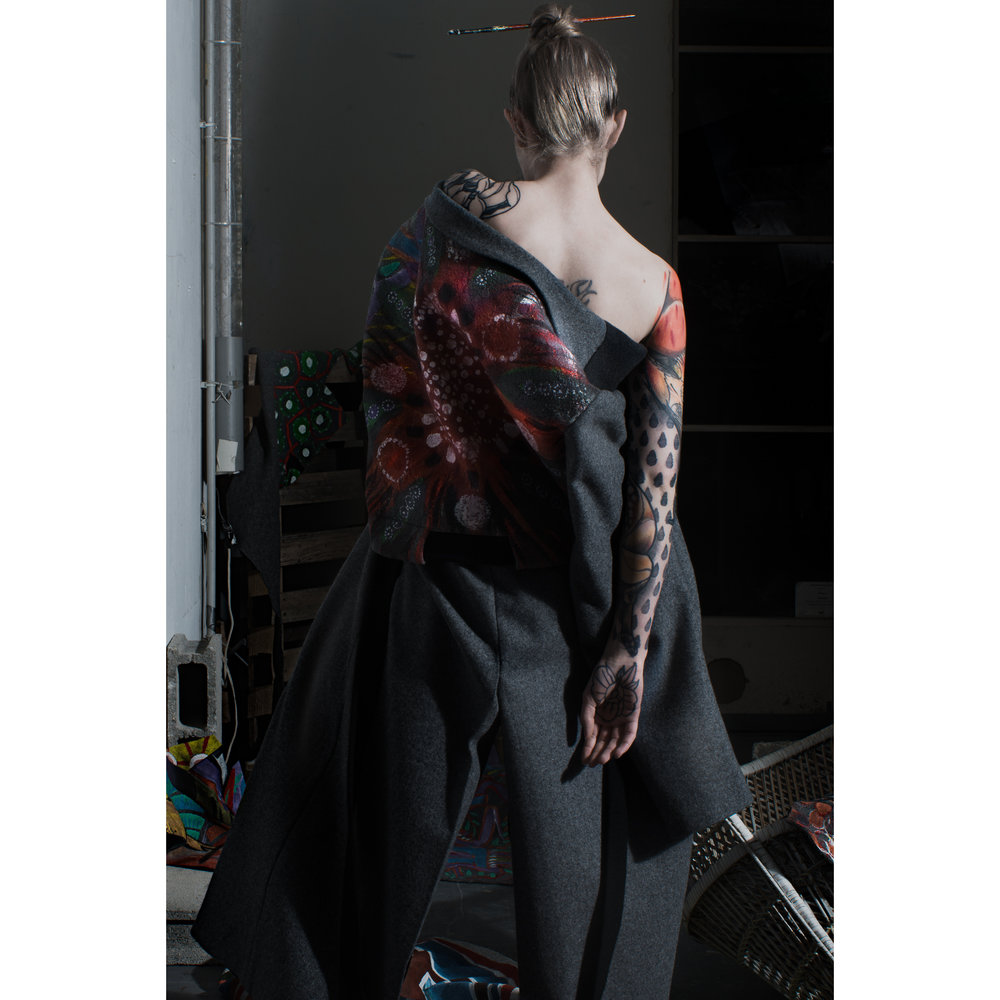 One of a kind hand painted coats by  C.Œ.D.E  Model :  Blueregard  MUAH :  Clementine Orianne