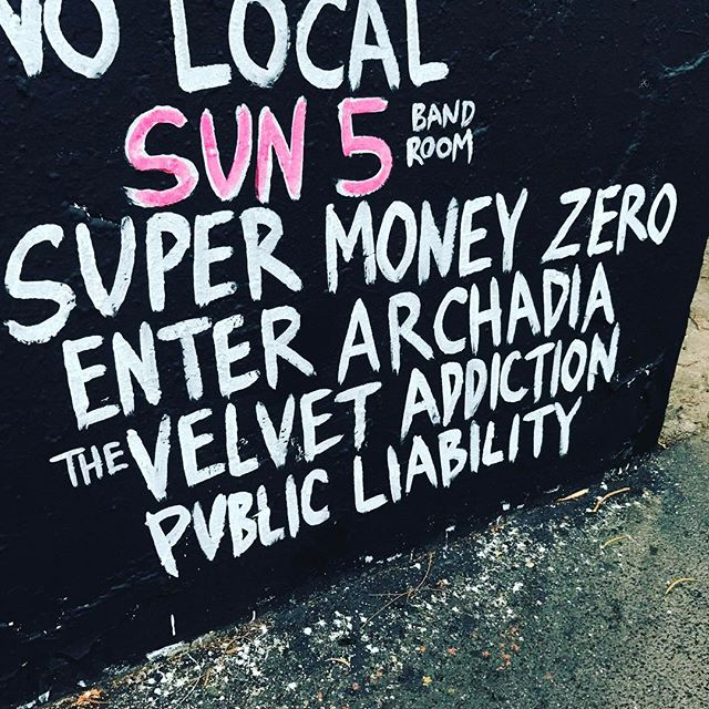Fun times at the Tote @enterarchadia @thevelvetaddiction @publicliability #tote #rock #spectorbass #livemusic #beers #melbournemusic