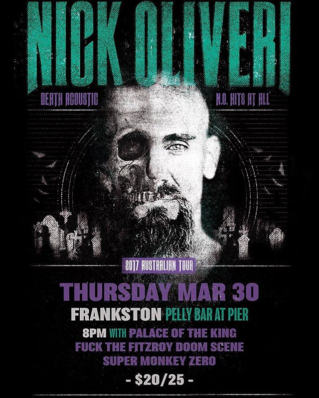 We are super excited to be given the opportunity to support @nickoliveri at the @PellyBar in #frankston on March 30, this is gonna be a huge night! This is not a night you want to miss! #nickoliveri #melbournemusic #beers #livemusic #heavyrock