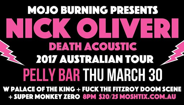 Sooo...did we mention we're supporting @nickoliveri in Frankston at the Pelly Bar? Consider this to be us telling you...this is going to be one of those shows you don't want to miss, contact us via Facebook or on our website for tix. We can't wait to see all our friends there 😊🤘 #nickoliveri #pellybar #supermonkeyzero #deathacoustic