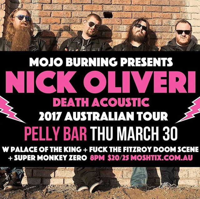 The night is getting closer...would love to see all our friends at the @pellybar on Thursday 😃🤘with @nickoliveri @fuckthefitzroydoomscene @palaceoftheking  #supermonkeyzero #stateofaffairs #simplesky #rock #nickoliveri #beers #pellybar #frankston #fuckthefitzroydoomscene #palaceoftheking #mojoburning #deathacoustic #tour #australia