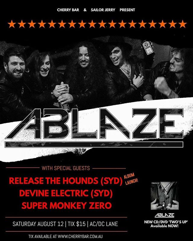 Get amongst it, kids!!! This is gonna be one hell of a night...Looking forward to supporting some awesome bands and drink plenty of beers with all you beautiful people 🤘😎🤘 #smzgig #supermonkeyzero #ablaze #releasethehounds #devineelectric #cherrybar #melbourne #livemusic