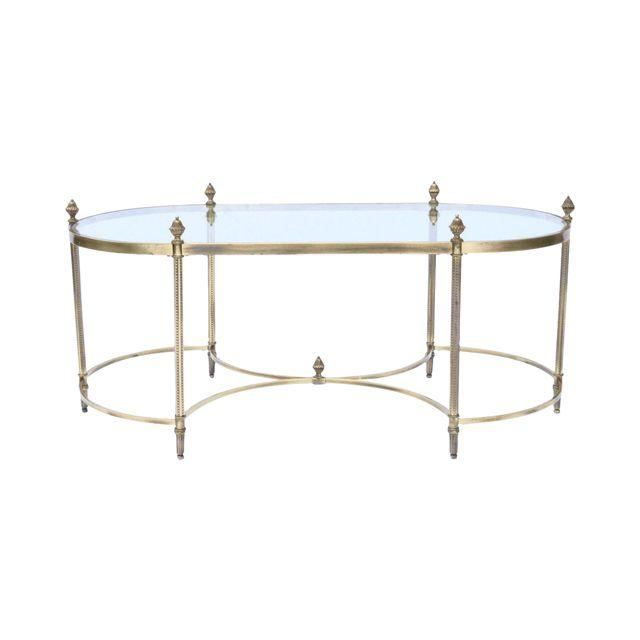 Vintage French Brass U0026 Glass Coffee Table. French Finials. Maison Jansen  Style