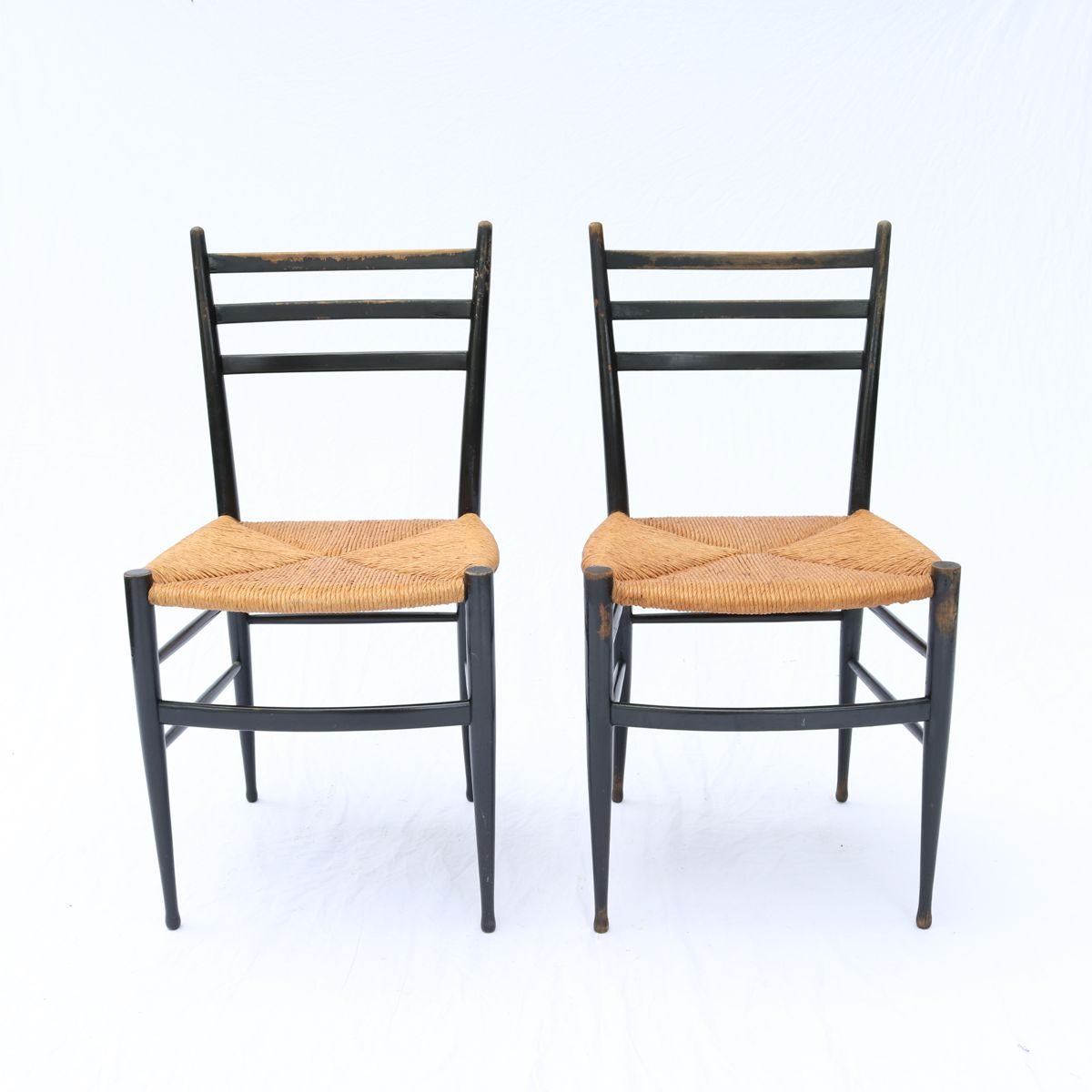 Outstanding Pair Vintage Chiavarine Chairs Marked Made In Italy Gio Pabps2019 Chair Design Images Pabps2019Com