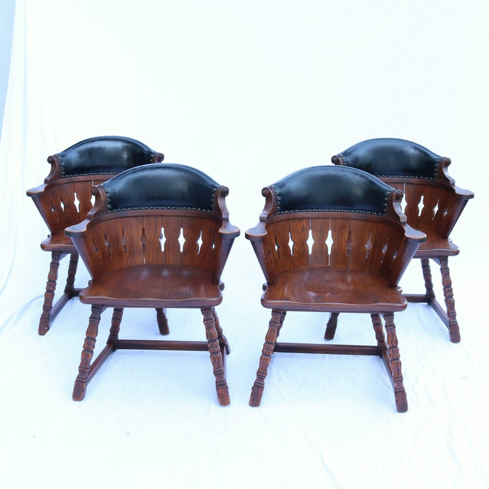4 Romweber Viking Oak Captains Chairs Armchairs Leather Solid VTG  Batesville IN