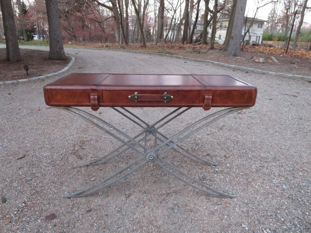 A Designer Leather Trunk Console Table, Art Deco Base, Maitland Smith? Lee  Dowdy Antiques