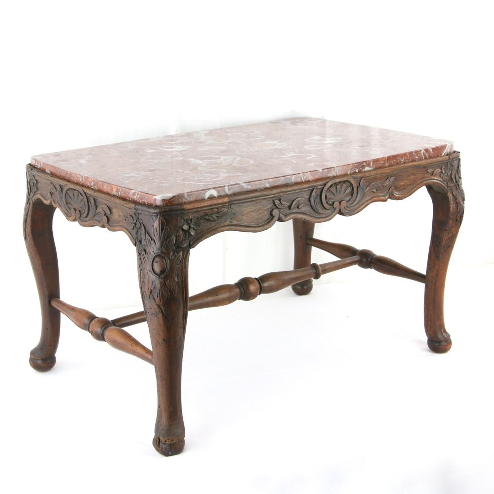 Louis XV Carved Fruitwood Footstool Converted to Coffee Table w Red