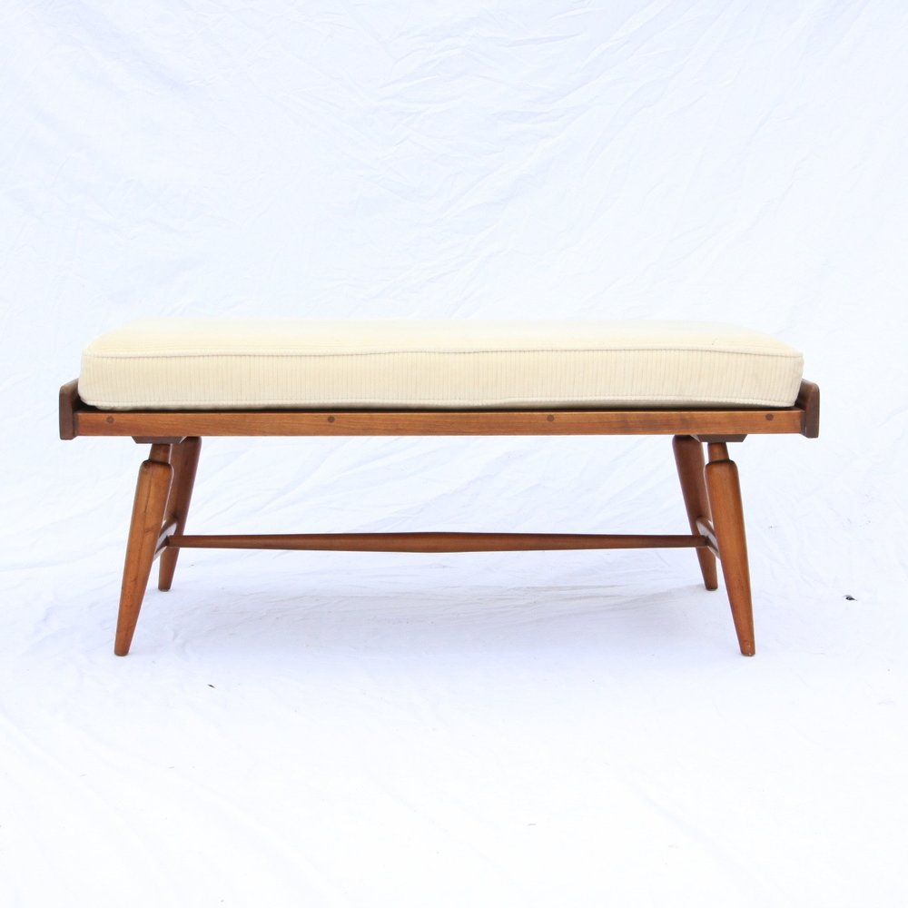 Perfect A Mid Century Bench And Cushion By Willett Furniture 1950s Solid Cherry VTG  RARE