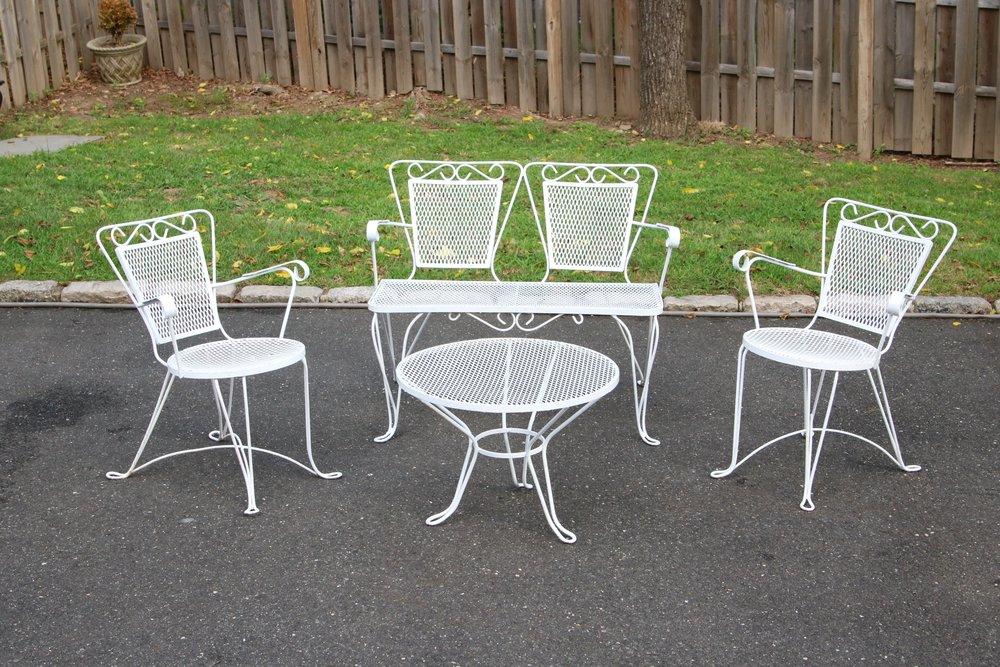 Iron Patio Set Part - 42: Vintage 1950s Wrought Iron Patio Furniture Set Settee 2 Chair Table Classic  Designer