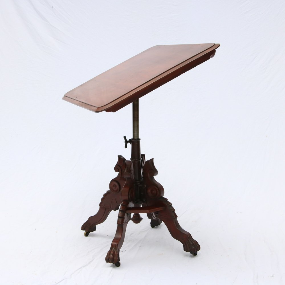 rare george w gates antique drafting table victorian cherry iron adjustable
