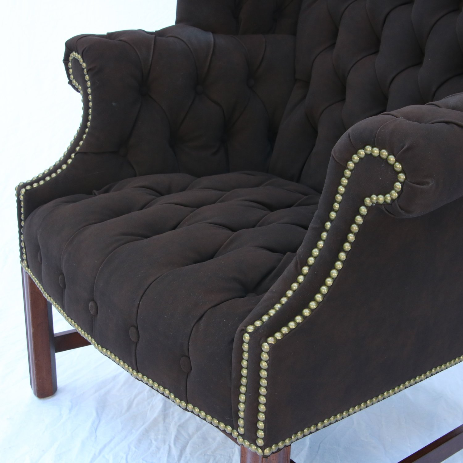A Vintage Leather Tufted Wingback Chair by Drexel Black Suede