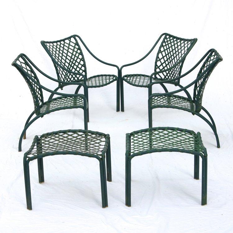 Vintage Brown Jordan Tamiami Green Patio Set 4 Chairs 2 Foot Stools