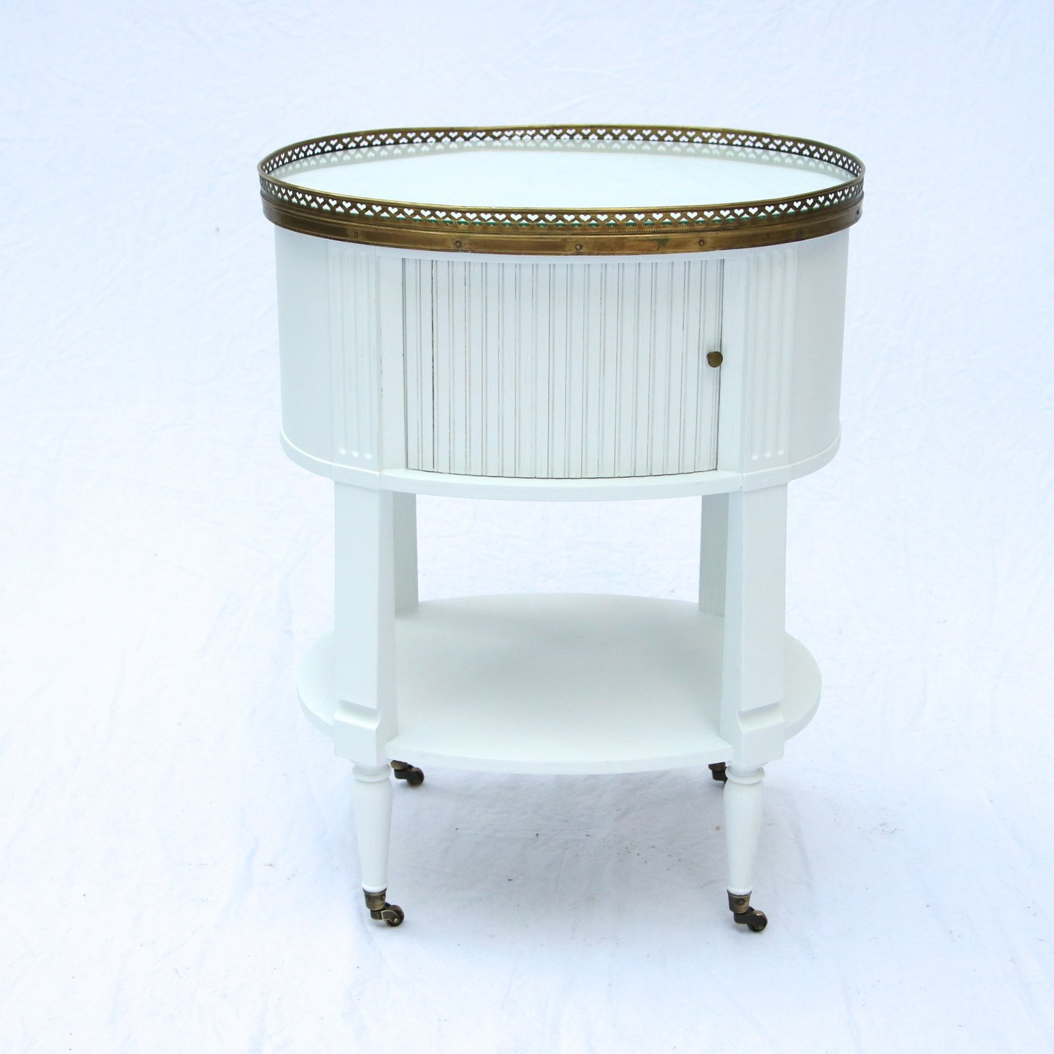 A Baker Louis Xvi Style Oval Gueridon Side Table Tambour Brass